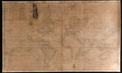Previouly unrecorded nautical chart of the world by Dutch cartographer Johannes Loots.