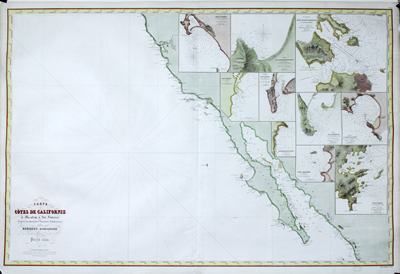 Large engraved antique chart of the California coast with Baja south to Mazatlan, Mexico.