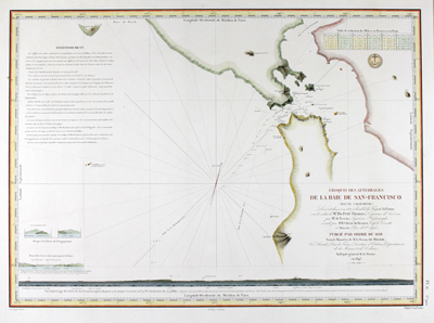 Scarce French sea chart of San Francisco Bay made from 1836-39 by Captain Petit-Thouars of the French Frigate Venus.