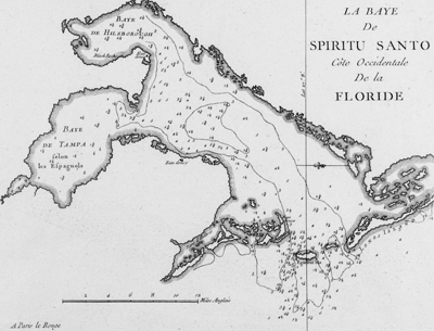 very scarce copper-plate engraved harbor chart of the Baye du Spiritu Santo comprised of Bay de Tampa and the Baye de Hilsborough, by George le Rouge.