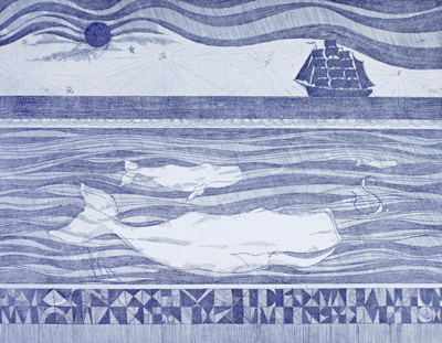 Evocative, dreamlike engraving of ships and whales.