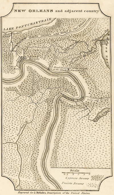Scarce (1822) copperplate engraved map of New Orleans by John Melish.