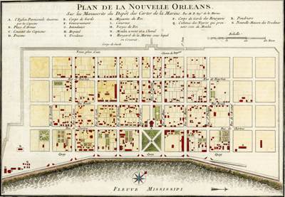 Antique French plan of the city of New Orleans, Louisiana (la Nouvelle Orleans) from the period of French colonization ca. 1753.