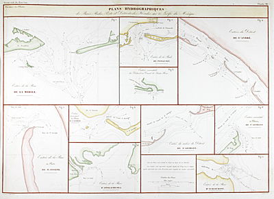 Ten very scarce antique nautical charts of Gulf Coast bays, passes, and port entrances from Mobile, Alabama past Appalachicola, Florida and the Ochlockonee River.