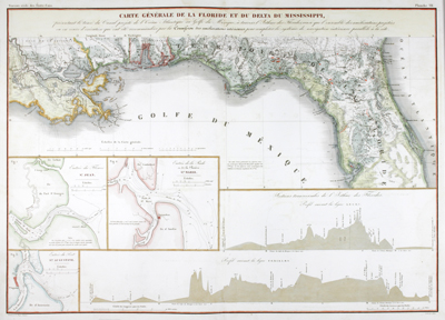 Beautiful antique chart of the Gulf Coast from the Atchafalaya River, past Bayou Lafourche and the Mississippi passes to Mobile Bay, Alabama
