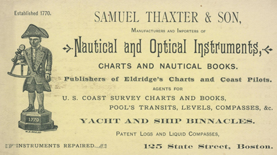 Antique trade card for the Boston, Massachusetts firm of Samuel Thaxter and Son.