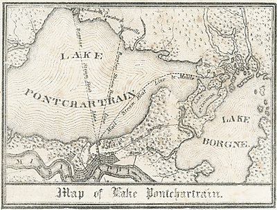 Uncommon and unrecorded version of a map of Lake Pontchartrain, Louisiana with three steamboat routes: to Madisonville, La., to Mandeville, La. and a mail steamboat route to Mobile, Alabama.