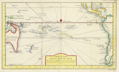 Fine 18th-century antique French map of the South Pacific showing recent discoveries as of mid century.