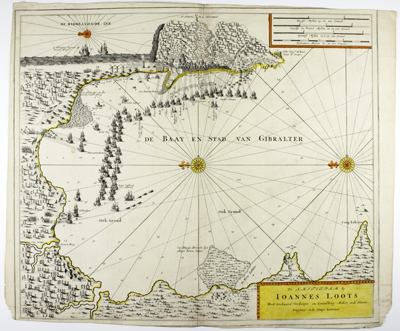 are first edition broadsheet chart / view of the Capture of Gibraltar in 1704 by Dutch cartographer Johannes Loots.