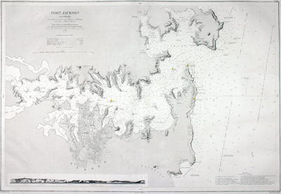 Rare and early large Gold-Rush era nautical chart of Port Jackson (Sydney, Australia) published by France's Depot de la Marine in 1861