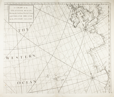 Scarce antique chart of Atlantic Ocean by Nathaniel Cutler and Edmund Halley, the discoverer of Halley's comet.