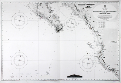 Amazing, clean, authentic British nautical chart of lower Baja Peninsula and west coastal Mexico with Sinaloa, Jalisco and the Sea of Cortez.