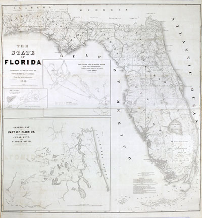 Antique map of Florida published in 1846, one year after Florida gained statehood.