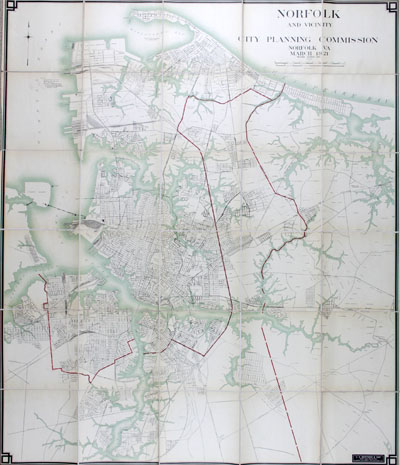 Lithographed folding map of Norfolk in the Commonwealth of Virginia