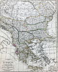 Antique engraved map of Greece and the Balkans.