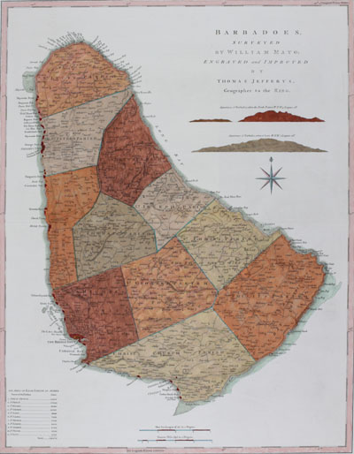 Thomas Jefferys British chart of the Island of Barbados in the Caribbean Sea