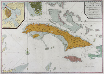 Mount and Page: Antique chart of the the island of Cuba, Florida Keys, and the Bahamas.
