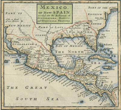 Antique map by Moll of Mexico, or New Spain.