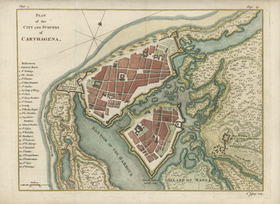 Scarce large-scale birds-eye plan of the city of Cartagena, Colombia by Thomas Jefferys.