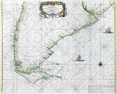 Antique Dutch nautical chart of Patagonia, the southern portion of the South American continent by Doncker.