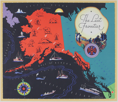 Pictorial map of Alaska with pictures of flora, fauna, and native peoples.