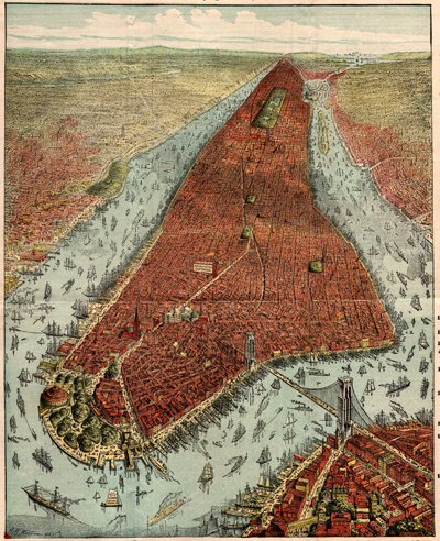 Antique 19th century oblique-angle bird's-eye view of New York City centered prominently on Manhattan.