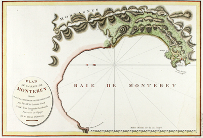 First French edition of this antique plan of Monterey Bay, Carmel, and Carmel Bay in California.