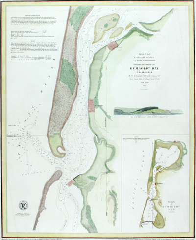 Attractive U.S. Coast Survey separately-published chart of Humboldt Bay, California. For the collector of California cartography.