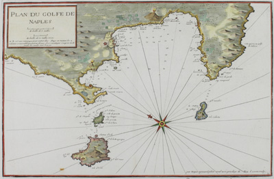 Beautifully colored antique nautical chart of the Bay of Naples, Italy by Jacques Ayrouard (Marseilles ca. 1746).