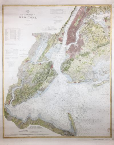 A spectacular, large antique nautical chart of New York Bay and Harbor from 1889 by the U.S. Coast Survey.