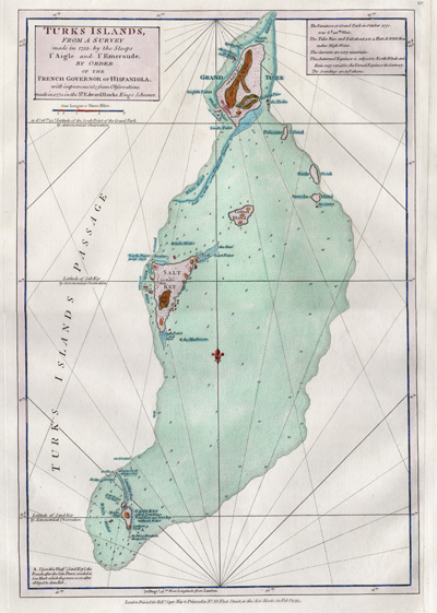Original antique British chart of the Turks Islands in the Caribbean Sea engraved by Thomas Jefferys.