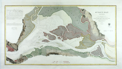 Very attractive scarce antique engraved chart of Suisun Bay, California northwest of San Francisco Bay.