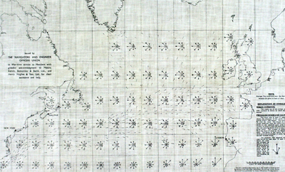 Scarce, waterproof privately-published WWII survival map for the north Atlantic Ocean from 1942.