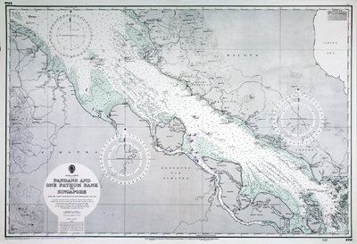 Chart of the Strait of Malacca with portions of coastal Sumatra and Malaysia and Singapore.