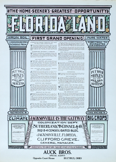 Antique broadside touting the business opportunity for an investor in Florida real estate.