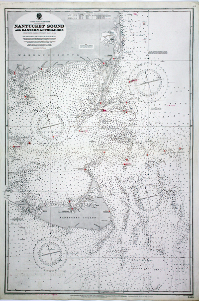 Fine engraved British Admiralty navigation chart of Nantucket Island, Nantucket Sound and portions of 'America'.