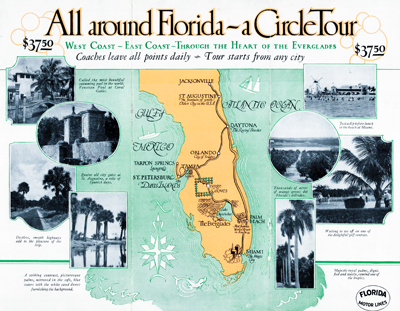 A Circle Tour of Florida brochure with map, printed during the Florida land boom of the late 1920's.