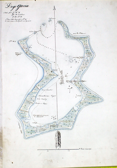 Antique manuscript map of the Island of Diego Garcia in the Indian Ocean.