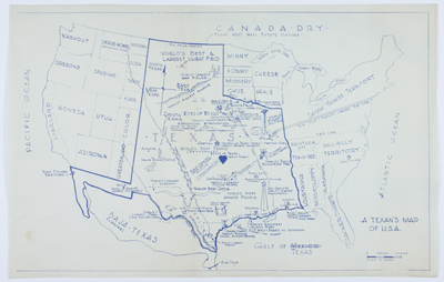 Scarce original blue-line humorous map of the state of Texas from the 'humorously' distorted perspective of a Texan looking outward at the country.