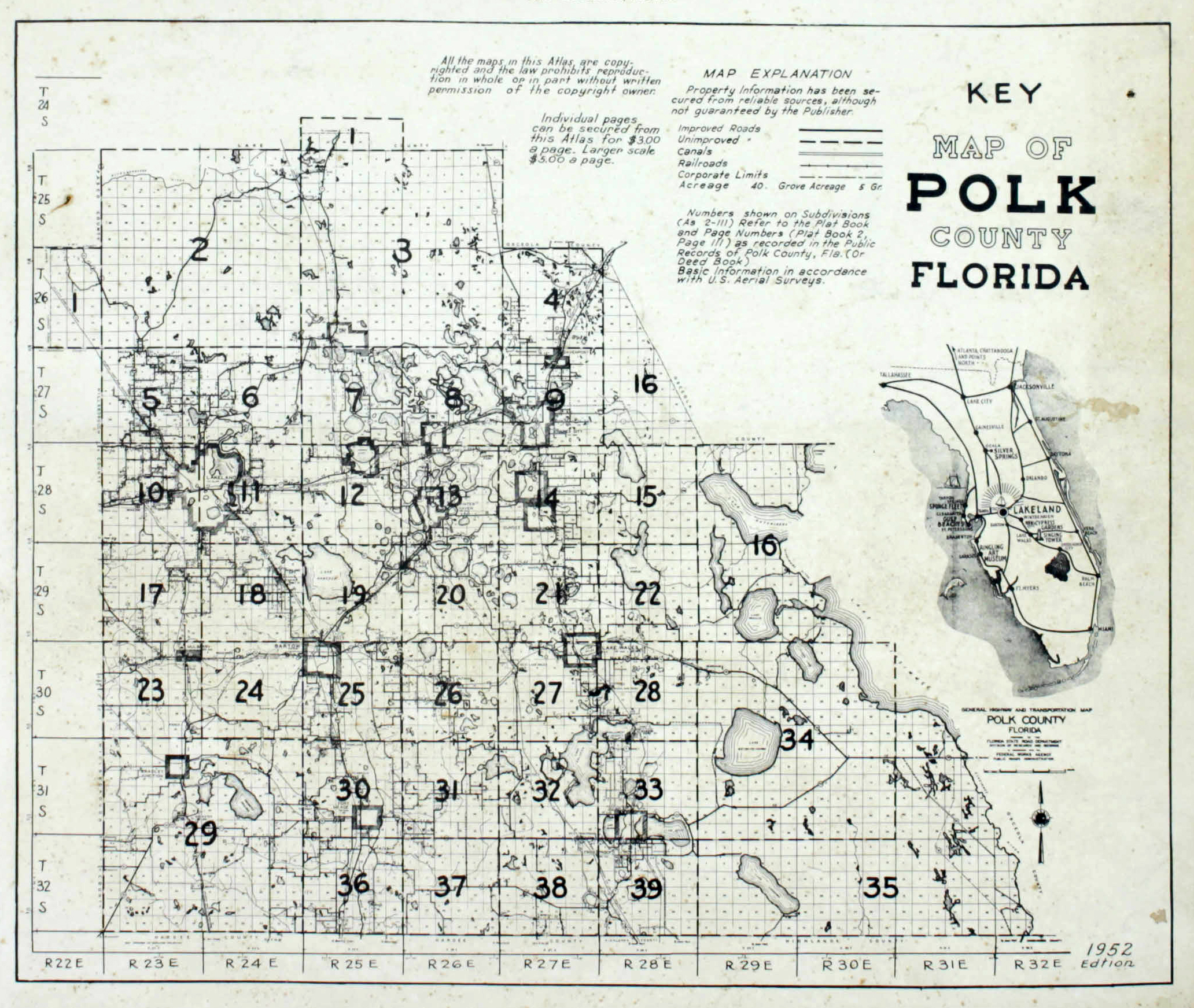 Dolph's 1952 Land Ownership Atlas for Polk County, Florida.
