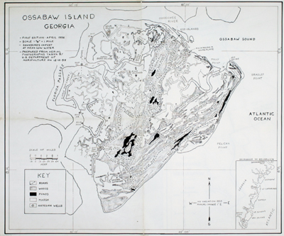 Rare privately published map of Ossabaw Island from 1956, Georgia by Bill Torrey Sr.