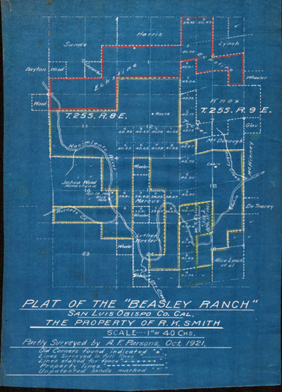 Unrecorded blueprint plat of the Beasley Ranch in San Luis Obispo California dated 1921.