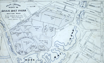 Engineer's manuscript map and planning studies in the Back Bay of Boston, Massachusetts for land that now includes the site of Fenway Park.