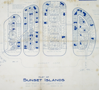 Rare original blueline plan and plat map of the four Sunset Islands in Miami, Dade County, Florida.