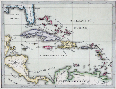 Antique pen and ink manuscript map of the West Indies or Caribbean Sea from Florida to South America by E.A. Cruttwell