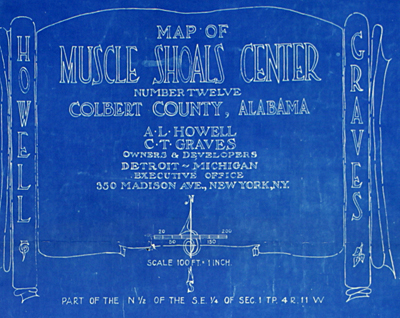 Howell and Graves: Map of Muscle Shoals. 1925