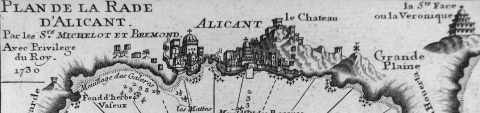 Closeup of Michelot and Bremond port plan for Alicante Spain